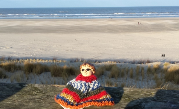 Die dicke Dame am Strand Juist Dezember 2014