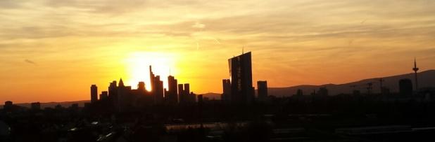 Skyline Abendrot Frankfurt
