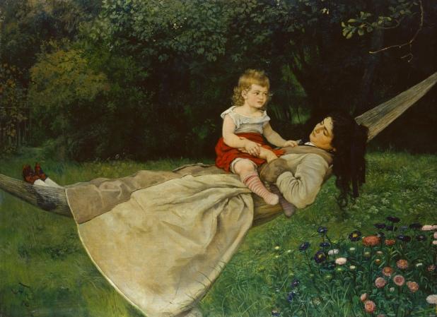 Frau mit Kind in der Hängematte, Hans Thoma