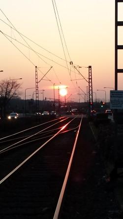 Straßenbahnschienen Sonnenuntergang