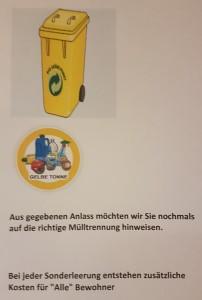 Mülltrennung, früner Punkt, gelber Sack