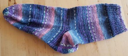 Socke selbstgestrickt, Opal