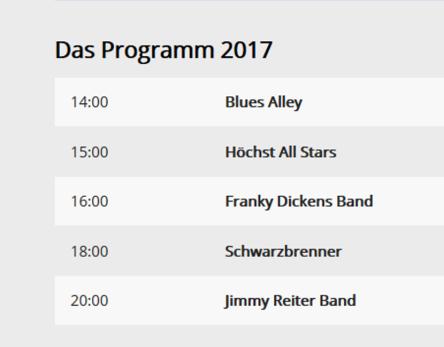Programm Höchst Bluesig 2017