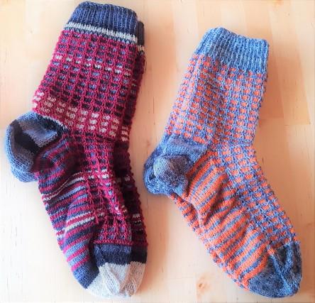 Socken mit Hebemachen, Kästensocken, Hebemaschensocken