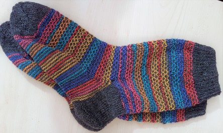 Broken seed stitch, Socken