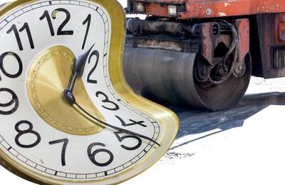 Uhr, Zeit, Dampfwalze, Deformation