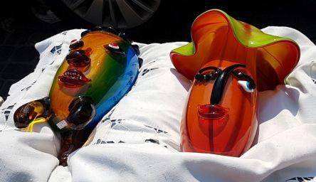 Vasen, Gesichter, Glas, Flohmarkt