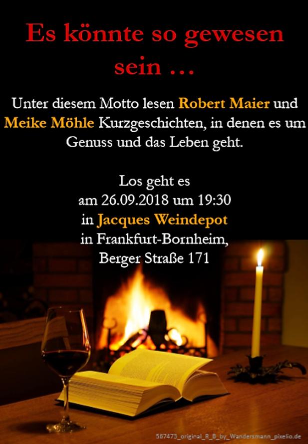 Lesung, Jacques Weindepot, Meike Möhle, Robert Maier