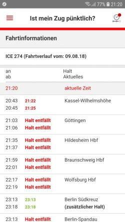 Anzeige Bahn-App