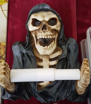 Halter Klopapier, Toilettenpapierhalter, Totenkopf, Skelett
