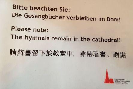 Dom Frankfurt, Gesangbücher