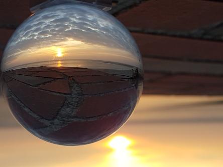Sonnenuntergang auf Borkum, Kugelfoto