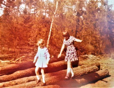 Mädchen, balancieren, Baumstämme